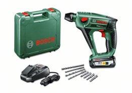 Bosch DIY Akku-Bohrhammer Uneo Maxx, Akku, Ladegerät, 2 x Betonbohrer, 2 x Universalbohrer, 4 Bits, Koffer (18 V, 2,5 Ah, Bohr-Ø 10 mm Beton, 8 mm Stahl) -