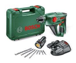 Bosch DIY Akku-Bohrhammer Uneo, Akku, Ladegerät, Betonbohrer, 2 x Universalbohrer 5 und 6 mm, Bits, Koffer (10,8 V, 2,0 Ah, 10 mm Bohr-Ø Beton) -